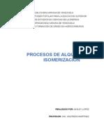 comparativa Alquilacion y Isomerizacion