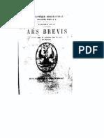 Lulle R Ars Brevis Traduit Pour La Premiere Fois Du Latin en Francais