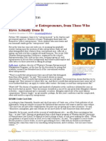 Do's and Dont's for Entrepreneurs