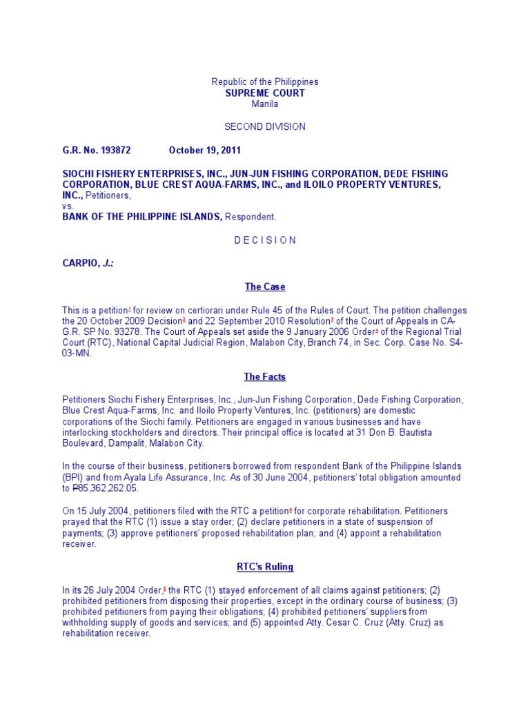 Siochi Fishery Enterprises Inc Et Al V Bpi G R No 193872