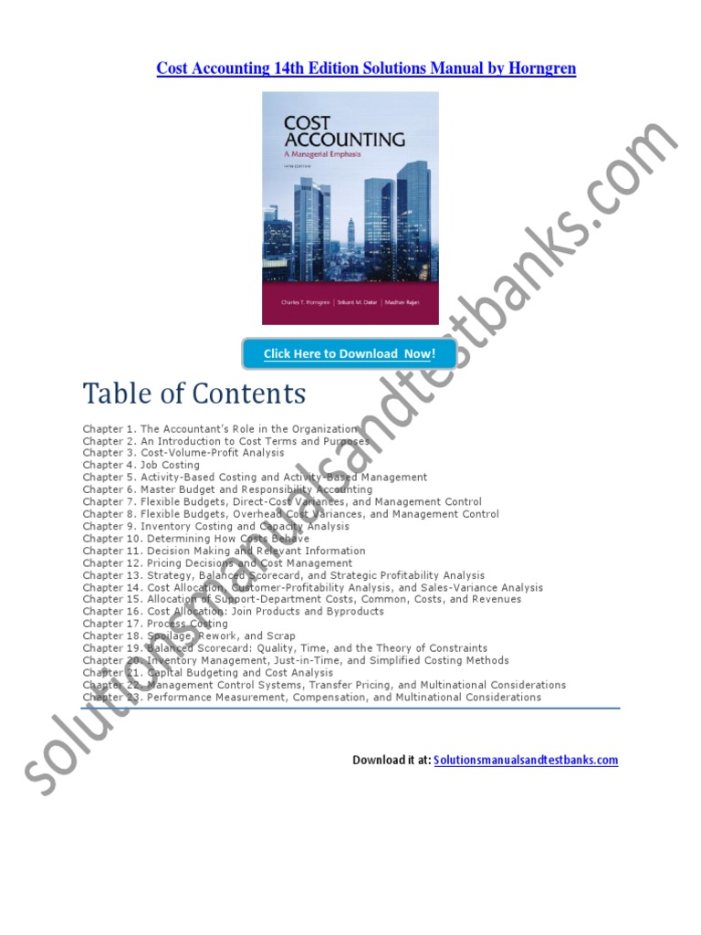 cost accounting 14th edition solutions manual by horngren rh scribd com management accounting horngren solutions manual management accounting horngren solutions manual
