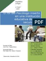 Taller I El Rol de Psicólogo en La Educación Secundaria