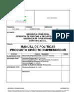 Manual de Políticas Producto Crédito Emprendedor 19.11.2014 (1)