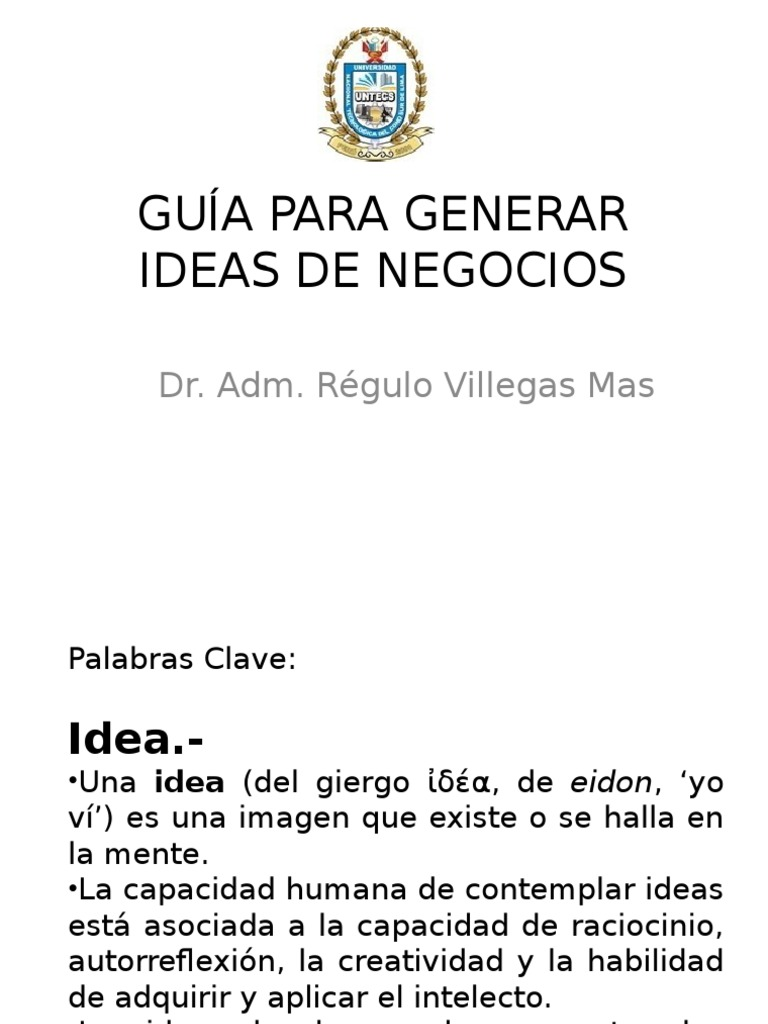 Desarrollo Empre.-archivo 33) Guía Para Generar Ideas de Negocios Untecs