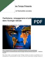 Panthéisme, Néopaganisme Et Antichristianisme Dans l'Écologie Radicale _ Fragments Sur Les Temps Présents