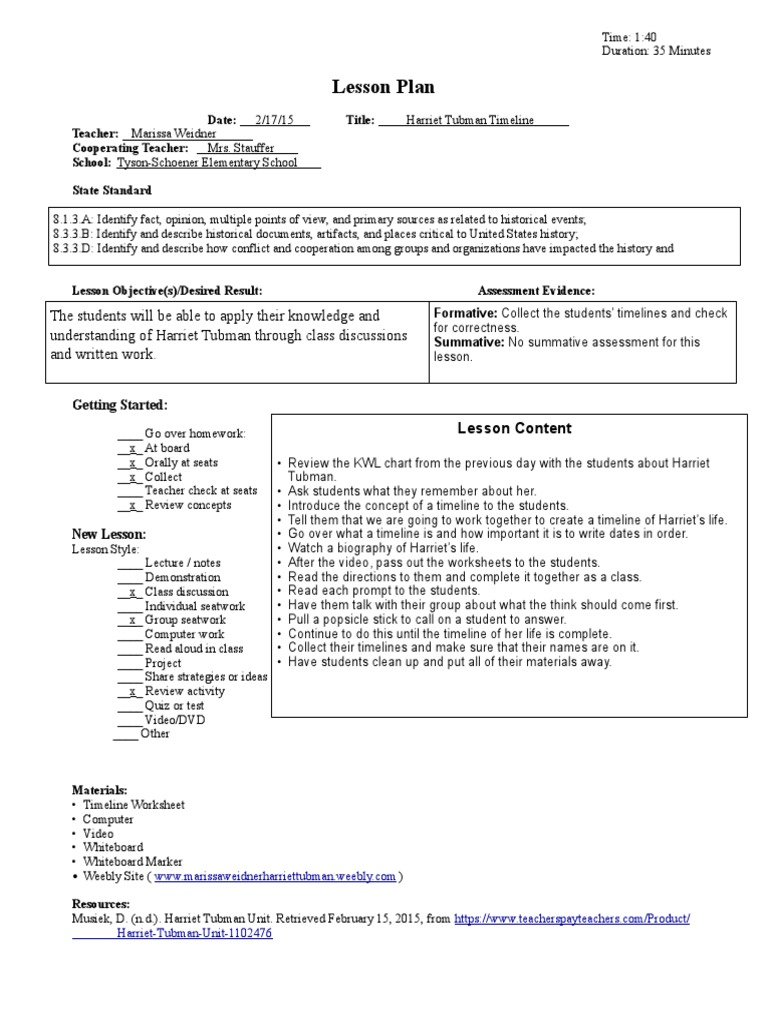 Worksheets Harriet Tubman Worksheets harriet tubman day 2 lesson educational assessment plan