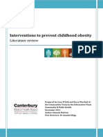 Child Obesity Prevention Lit Review