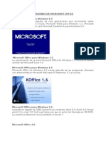 Versiones de Microsoft Office y Partes de Word