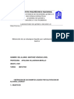 PRACTICA No. 2 Obtención de un shampoo liquido por sulfatación del alcohol laurico