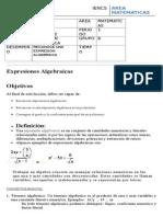 guia 2 a expresion algebraica