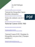 Direcciones Con Tutoriales Para Canon 70d