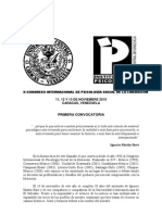 Congreso Psicologia Social de La Liberacion Primera Convocatoria[1]