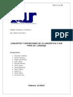 Trabajo de La Lingüistica y Tipos de Lenguaje