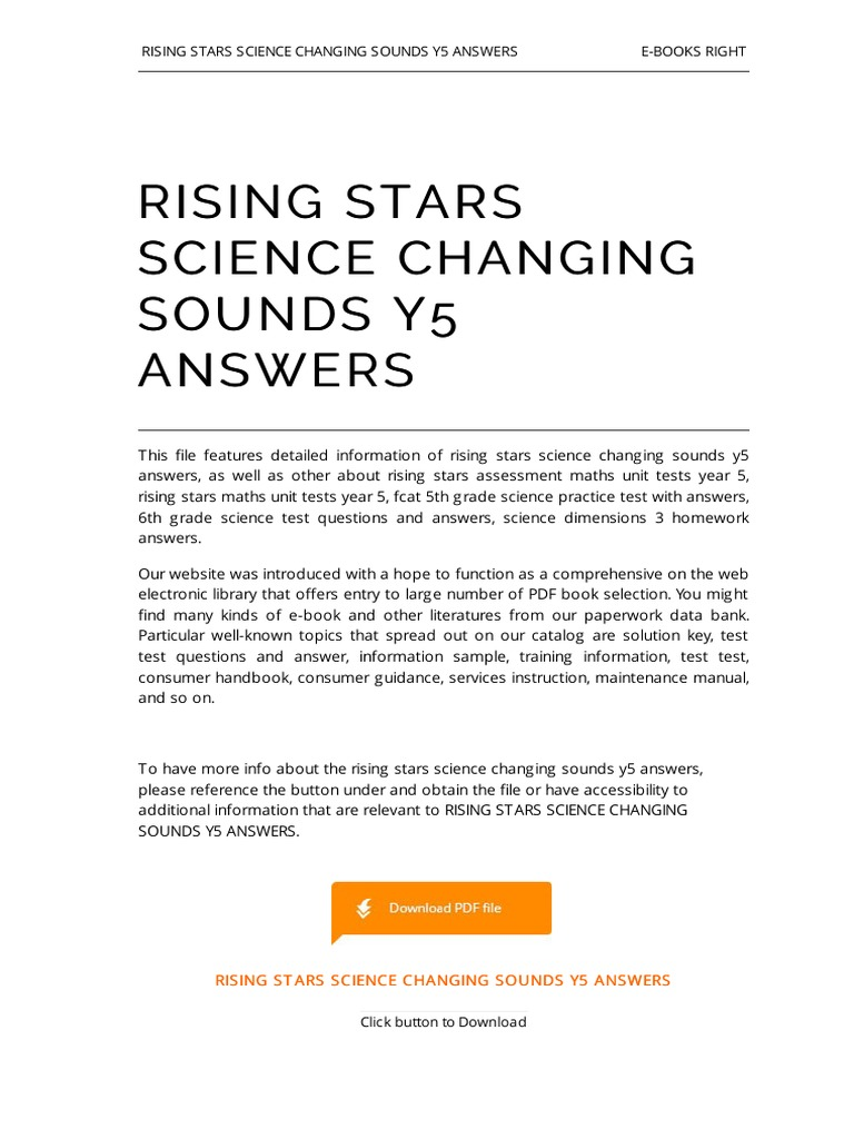 Rising Stars Science Changing Sounds y5 Answers | E Books