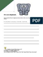 It is an Elephant ESL Kids Worksheet