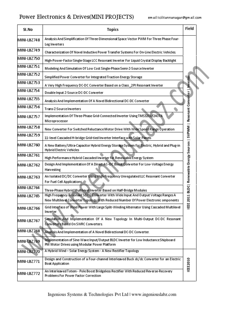 Power Electronics Mini Projects List | Power Inverter