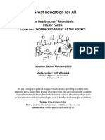 Headteachers Roundtable Education Election Manifesto Tackling Underachievement at Source Final