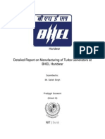 Detailed Report on Manufacturing of Turbo Generators at BHEL Haridwar