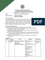 Strategic Management MBA - Course Outline - 2012