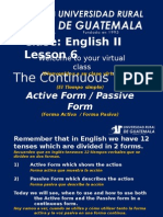 Ingles 2 Clase 6 Continous Tenses Active and Passive Form