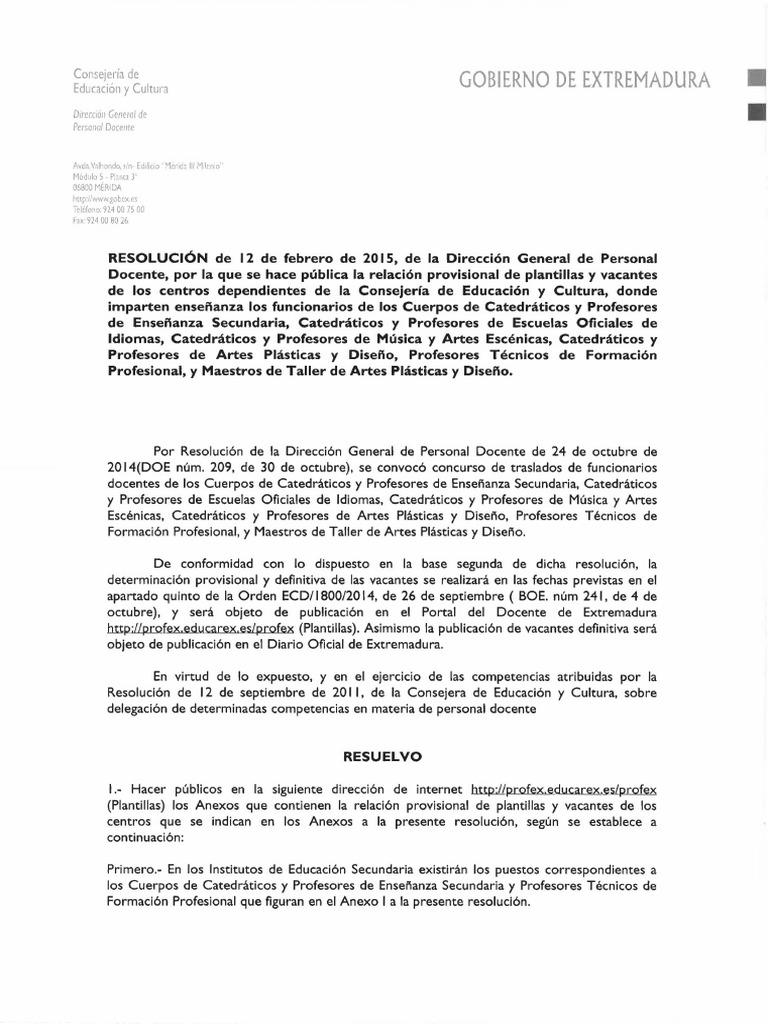 Plantillas Provisionales de Secundaria 2015-2016 - Resolución