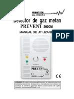 Detectorgazprevent2000mprimatech Manual Tehnic Orig Prevent2000m-Utilizare