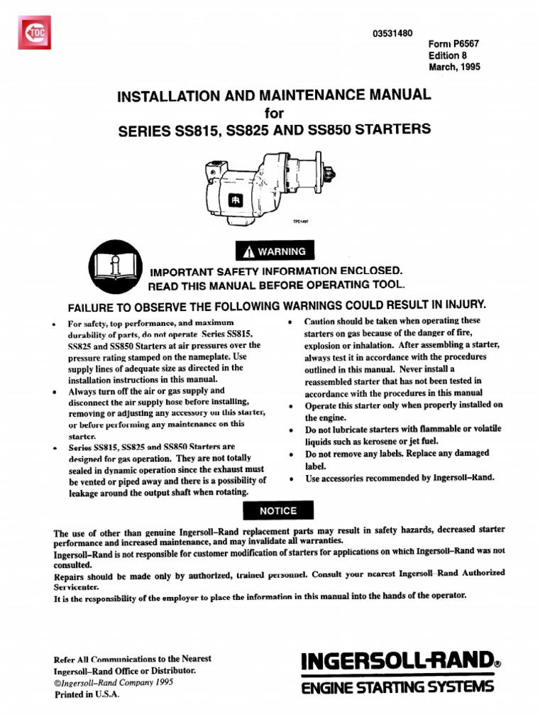 45835613 Ingersoll Rand Air Starter Clutch Valve Case 222 Wiring Diagram