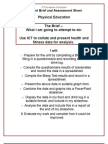 PE Health and Fitness Brief and Assessment Sheet