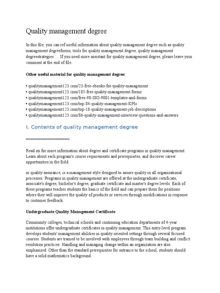 Quality Management Degreecx Scatter Plot Graduate School