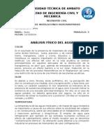 PROPIEDADES FISICO QUIMICA Y BACTERIOLOGICAS DEL AGUA