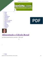 Alimentação e Cálculo Renal - Nutricionista