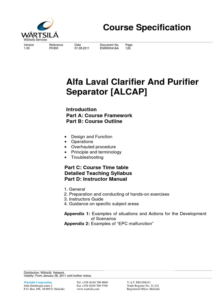 Alfa Laval Separator Course Specification | Syllabus | Educational  Technology