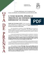 150216 NP-El Pleno Aprueba La Creación de 490 Viviendas en La Barrancosa