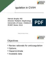 Brophy Anticoagulation CVVH