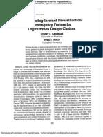 Implementing Internal Diversification Contingency Factors for Organization Design