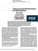 Organization Structure and Performance