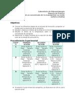 Reporte Practica 2.Lixiviación ácida de un concentrado de Cu (calcopirita) con ácido sulfúrico (H2SO4)