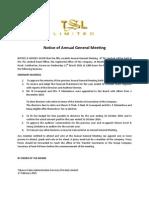TSL - Notice of Annual General Meeting