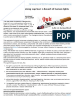Whether Passive smoking in prison is breach of human rights of prisoner?