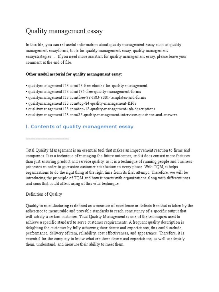 free essay on management