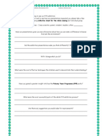audience reflection sheet