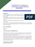ANTEPROYECTO DE NORMA DE CODIFICACION Y MEDICIONES DE URBANISMO.doc