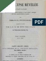 Em Swedenborg L'APOCALYPSE REVELEE Tome Premier Chapitres I VIII Numeros 1 418 LeBoysDesGuays 1856