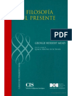(Clásicos del Pensamiento Social) George Herbert Mead-La filosofía del presente  -Centro de Investigaciones Sociológicas (2008)