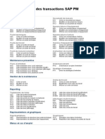 Codes des Transactions SAP PM