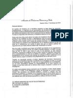 Carta a al Ministro de Relaciones Exteriores del Estado de Israel, Avigdor Lieberman
