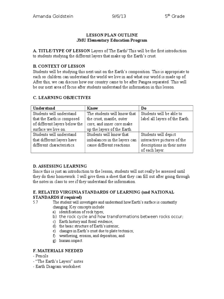 Worksheets Layers Of The Earth Worksheet layers of the earth 1 lesson plan