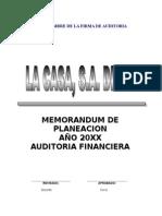 Memorando de Planeacion Auditoria II