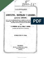 Calendario Del Agricultor, Hortelano y Ganadero. 1865