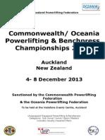 Commonwealth Oceania Championships 2013 Event Invite